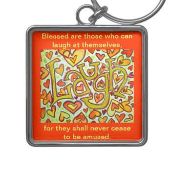 Laugh Word Quote Glitter Art Painting Keychain