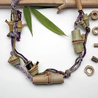 Knitted eco friendly statement necklace with bamboo beads, purple olive green, OOAK