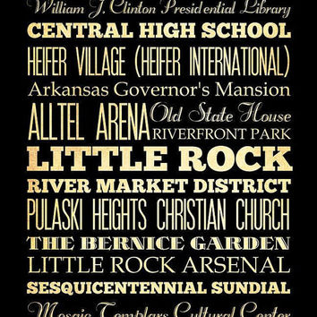 Little Rock, Arkansas, Typography Art Poster / Bus/ Transit / Subway Roll Art 18X24-Little Rock's Attractions Wall Art Decoration-LHA-224