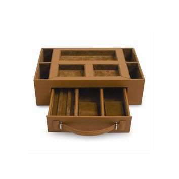 Leather Valet Jewelry Case Available in Brown/Black - Perfect Gift