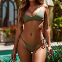 Hot sale sexy pure army green two piece bikini swimsuit