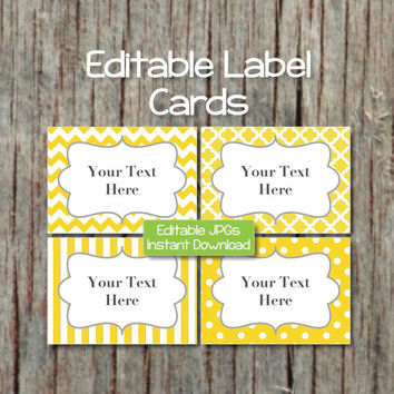 Editable Labels Cards Digital JPG File Printable Name Cards Digital Collage Sheet Yellow Grey INSTANT DOWNLOAD Baby Shower Place Cards 003