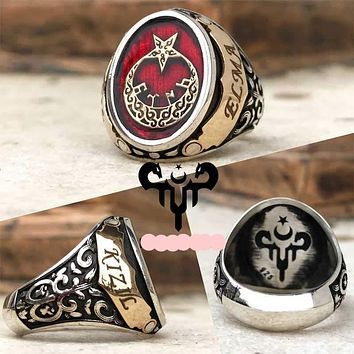 Engravable customizable crescent star sterling silver ring