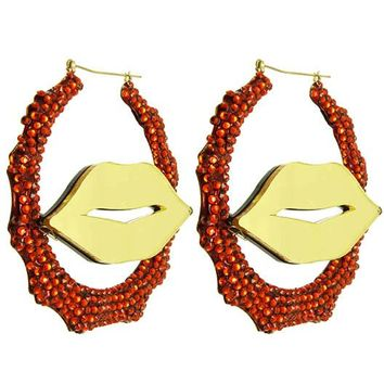 Red Lips Crystal Bead Earring