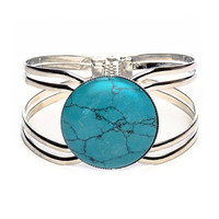 Turquoise stone hinged bangle *br3254-8*