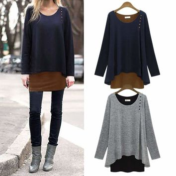 Womens Baggy Loose Top Long Sleeve Casual Tunic Blouse Pullover Shirts