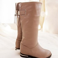 New Women Beige Round Toe Within The Higher Casual Mid-Calf Boots