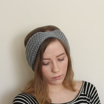 Silver Grey turban headband, vegan,  earwarmer, gray, cruelty free, handmade, knitted, crocheted, hypo allergenic, retro headband, vintage