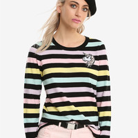 Pastel Stripe Unicorn Girls Sweater