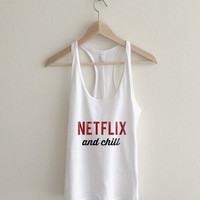 Netflix and Chill Womens Racerback Tank Top