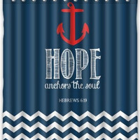 "60"" x 72"" Navy Chevron & Hope Anchor Shower Curtain"