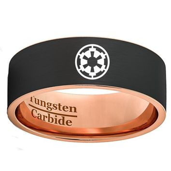 Black & Rose Gold Imperial Star Tungsten Carbide Wedding Band