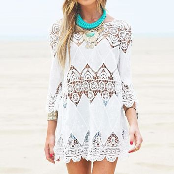 White Mini Dress, Half Sleeve with Crochet Lace Design Cover Up