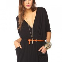 Draped Across Dress - Black - NASTY GAL