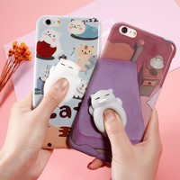 Squishy Cat Sleeping Kitty Case for iPhone 6 6S 7 Plus Squeeze Cat Phone Case