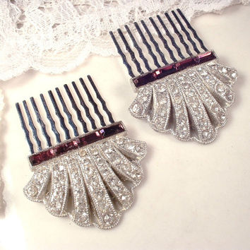 PAIR Original Art Deco Amethyst Purple Hair Combs, 1920s 1930s Pave Rhinestone Dress Clips to Bridal Headpiece Accessory Gatsby Prom Wedding