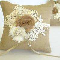 Burlap ring pillow with lace, fabric flowers and crystals. Rustic, natural wedding