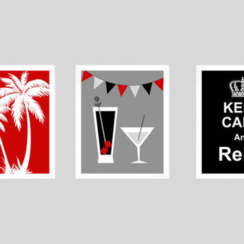 Cocktail Prints, Bar Decor, Tiki Bar Decor, Tiki Bar Wall Art, Keep Calm Print, Palm Tree Prints, Cocktail Art, Bar Poster, Modern Art Print