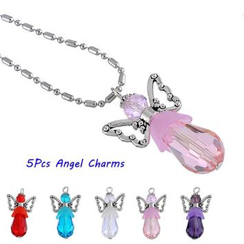 5PCs Cute Design Handmade Crystal Angel Pendant Charm Guardian Angel Jewelry