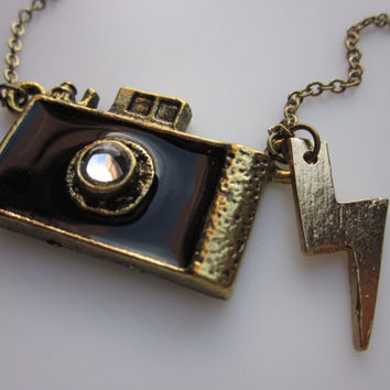 Flashy Camera Necklace with Lightning Bolt Charm