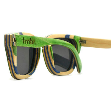 Green Maple Wood Sunglasses, 7-Ply Wooden Eyewear, Recycled Skateboard Wood Sunglasses