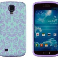 DandyCase 2in1 Hybrid High Impact Hard Sea Green Flower Pattern + Purple Silicone Case Cover For Samsung Galaxy S4 i9500 + DandyCase Screen Cleaner
