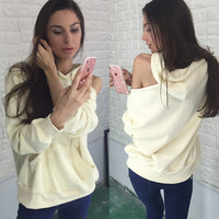 Hats Winter Ripped Holes Strapless Women's Pullover Long Sleeve Hoodies [9476044548]
