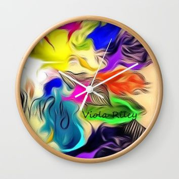 FALL LEAVES Wall Clock by violajohnsonriley