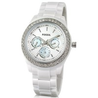 Fossil Designer Women's Watches White Crystal Watch