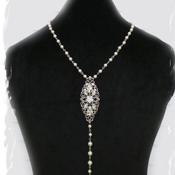 Wedding Backdrop Necklace Luxury Art Deco Inspired Bridal Back Jewelry Vintage Style Great Gatsby Long Back Necklace Swarovski Pearl Flower