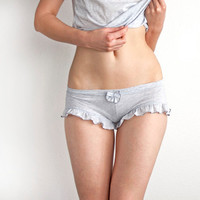 Heather Grey Ruffled Panties Boyshorts. Pajamas shorts. Womens Shorts. Girly Lingerie
