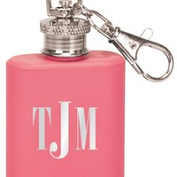 Engraved Keychain Flask in Matte Pink