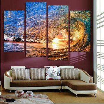 Wall Art No Frame Canvas Only 4 Pieces Sunset On The Beach With Screw Ocean Wave Wall Painting Home Decor free shippin