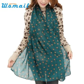 Womail Women's Long Soft Silk Chiffon Scarf With Polka Dots.   Nice Large Size.    Available in Teal, Black, Red and Beige.   ***FREE SHIPPING***
