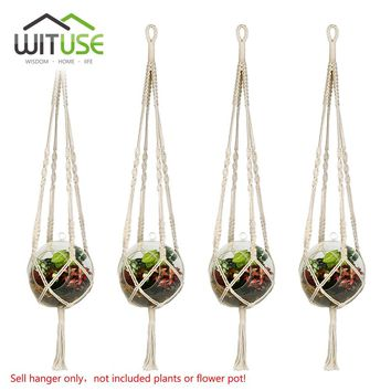 WITUSE 4Pcs Hanging Macrame Plant Hanger Mini Planter Basket Holder for Plants Succulent Cactus Flower Pot Cotton S M L 3-Size