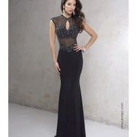 Preorder - Nina Canacci 9061 Black Embellished Sexy Keyhole Long Dress 2016 Prom Dresses