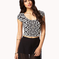 Crisscross Tribal Print Crop Top