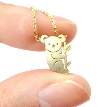 Adorable Koala Bear Shaped Silhouette Charm Necklace in Gold | Animal Jewelry