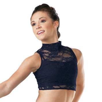 Sleeveless Lace Mock Turtleneck Crop Top - Balera