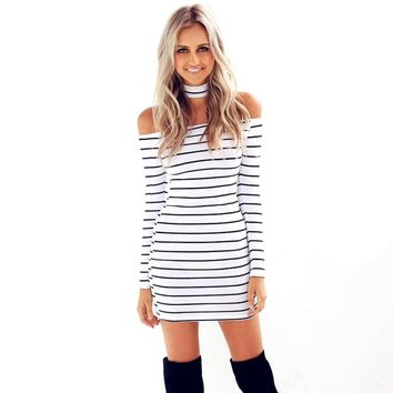 Sexy Strapless Striped Halter Women Dress Fashion White Black Lady Dresses Long Sleeve Girls Mini Dress
