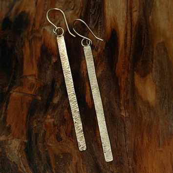 14k solid gold long bar earrings. Hammered, textured handmade long bar dangle earrings. Long gold bar earrings. Modern, unique gold jewelry.