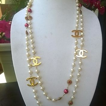 "Gorgeous 70"" Hollywood Glam Ruby crystal & Pearl Necklace"