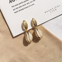 Gold Dip Sea Shell Earrings
