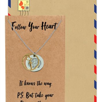 Coline Heart Arrow and Brain on Plate Pendant Necklace Inspirational Quote Greeting Card