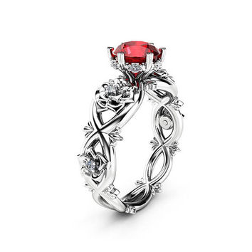 Ruby Halo Engagement Ring 14K White Gold Floral Ring Natural Ruby Engagement Ring