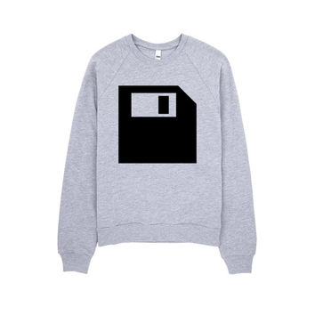 Diskette Sweatshirt - Minimal Sweatshirt - Grey Sweatshirt - Graphic Sweatshirt - Hipster Sweatshirt - Gift for geek - 90's