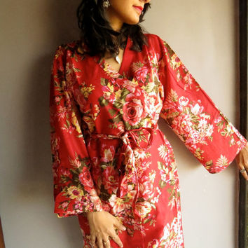 A11 Red Floral Kimono Crossover kneelength Robe - Getting ready bridal robe, Spa robe, wedding favors, Bridal Shower, bridesmaids gifts