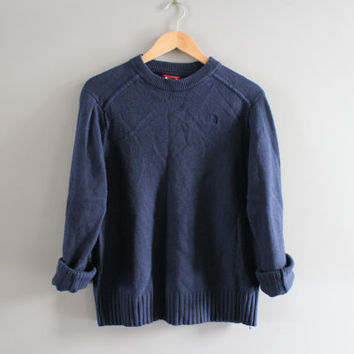 North Face Sweater Navy Blue Sweater North Face Dark Blue Pullover Slouchy Sweater Crewneck Unisex Knit Minimalist Vintage 90s Size S - M