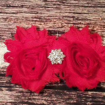 Red Shabby Flowers with Star Rhinestone on White Lace Baby Girl Headband!