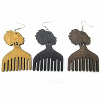 Afro Comb Wood Earrings